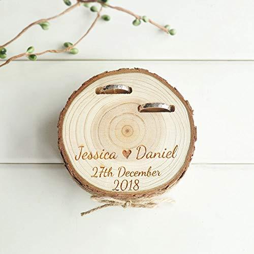 Angepasst Hochzeit Geschenke Ring Bearer Box Personalisierte Ring Halter Natur Holz Scheibe Ring Box Für Engagement