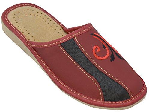 Bawal Hausschuhe Leder Damen Pantolette Gummisohle Latschen Leder Modell XB01 (40, Rot-Schwarz)