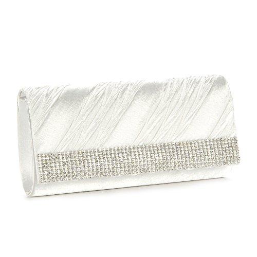 Damen Clutch / Schultertasche, mit Raffung und Strass Weiß - Weiß
