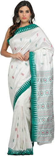 Exotic India Ivory and Green Bomkai Saree from Orissa with Hand-woven Ch...