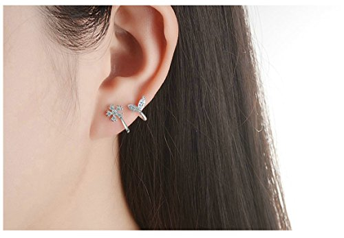 Aooaz 2Pcs Silber Schneeflocke Blatt Zirkonia Ohrringe für Damen Ohrklemme Fake Piercing Fake Loch Piercing Ohr Klammern - Ear Cuff Schneeflocke