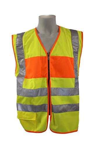 Warnweste mit Reißverschluss reflektierende Sicherheitsweste mit Tasche, Einsatzweste gelb