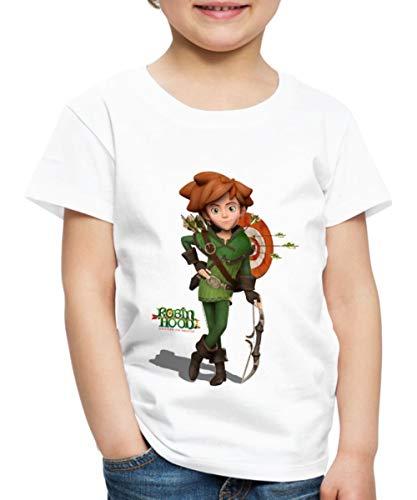 Spreadshirt Robin Hood Schlitzohr Von Sherwood Mit Bogen Kinder Premium T-Shirt, 110/116 (4 Jahre), Weiß