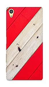 Amez designer printed 3d premium high quality back case cover for Sony Xperia Z5 Premium (Stripe Red Wood Pattern)