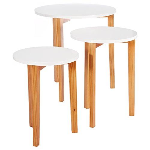 Lomos® No.17 Coffee juego de mesa en color blanco compone de 3 mesas auxiliares de madera