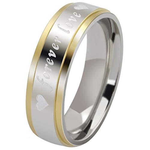 (AnazoZ Edelstahl Ringe Für Herren Damen Hochzeit Gold Weiß Engrave Forever Liebe Herzen 6MM UK 54 (17.2))