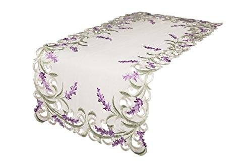 Xia Home Fashions Lavande en Dentelle brodée Cutwork Chemin de Table, Ivoire