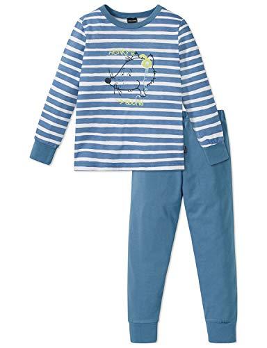 Schiesser Jungen Rat Henry Kn Anzug lang Zweiteiliger Schlafanzug, Blau (Jeansblau 816), 128