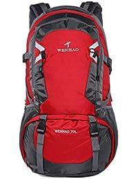 Super moderno unisex nylon impermeable mochila de senderismo camping mochila/mochila de equipaje (70L), color rojo, tamaño 70L, volumen liters 70.0