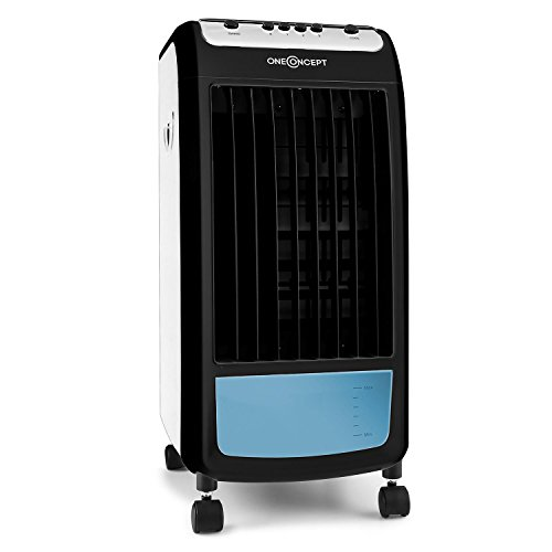 oneConcept Caribbean Blue Rafraichisseur d'air 3-en-1 (ventilateur, purification d'air, humidificateur, réservoir de 4L, 70W, packs frigorifiques intégrés) - blue & noir