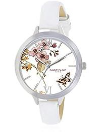 Naf Naf Reloj de cuarzo Woman Naf Naf D Ips/Argenté Flowerbutterfly/Fleurpapillon White/Blanc 38 mm