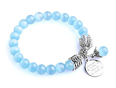 Bella.Vida Bella. Vida Bella. Vida Bella. Vida Bella. Vida Womens December Birthstone Cat Eye Bead Bracelet with 8mm Quartz Crystal Pearl and I Love You to the Moon and Back Charm 7.