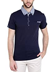 Dream of Glory Inc. Men's Half Sleeve Cotton Polo Buttoned Oxford Woven Collar and Pocket T-Shirts for Men Also in Plus Sizes : XS-8XL