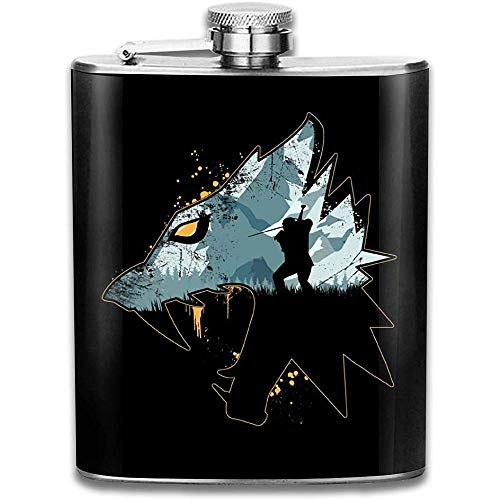 Wild Witcher Silhouette Print Flachmann Pocket Bottle Flagon Portable Edelstahl Flagon 7OZ