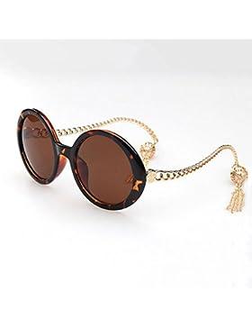 HONEY Gorgeous Lady Round Sunglasses - Borlas de marco grande - Anti-UVA, Anti-UVB ( Color : Leopard color )