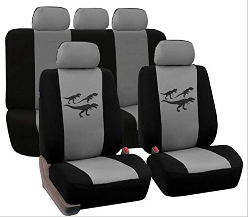 Dhrfyktu Dinosaur Pattern Car Seat Cover Printing Four Seasons Universal (Color : Gray)