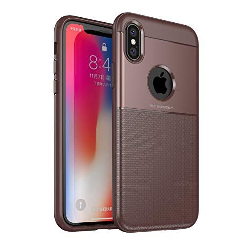 Beryerbi Hülle kompatibel mit iPhone X/Xs/Xs Max/Xr Hülle TPU Außenaktivitäten Schutzhülle mit Standfunktion stoßfest geschützt Case für S9 Plus 2018 Muti-Funktion (iPhone XS Max, braun) (Max Braun)