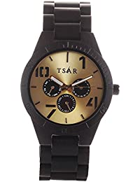 Tsar Wooden Gold Dial Men's Multi-Function Wood Watch-Tri Modern