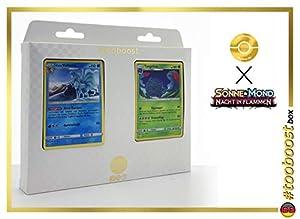 Alola-Vulnona (Ninetales de Alola) 28/147 Y Tangoloss (Tangrowth) 8/147 - #tooboost X Sonne & Mond 3 Nacht in Flammen - Box de 10 Cartas Pokémon Aleman + 1 Goodie Pokémon