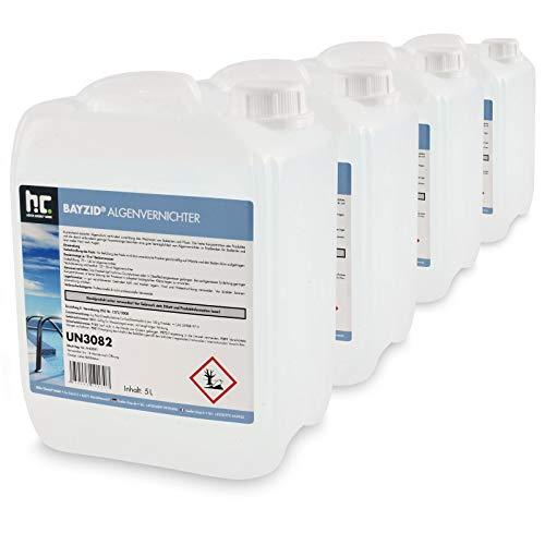 Höfer Chemie 4x5 L Pool Algenvernichter - Anti Algenmittel für Schwimmbad & Pool - schnelle Wirkung bei Algen