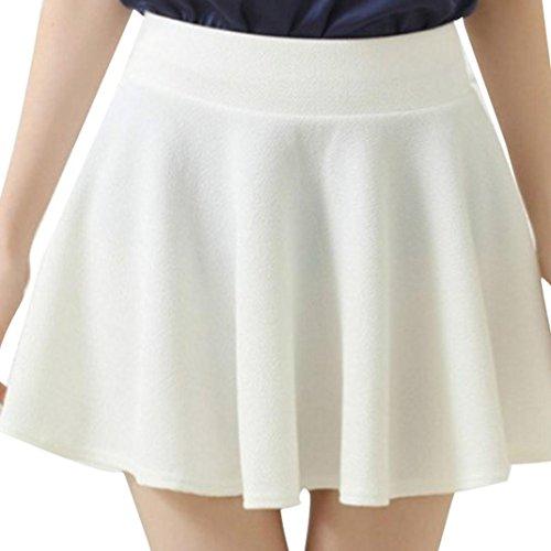 Kanpola Frauen Röcke High Taille Plain Skater Flared gefalteten kurzen Mini (2XL, Weiß)