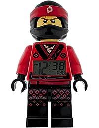 LEGO NINJAGO MOVIE 9009211 Kai Kinder-Wecker mit Minifigur und Hintergrundbeleuchtung | rot/schwarz | Kunststoff | 24 cm hoch | LCD-Display | Junge/ Mädchen | offiziell