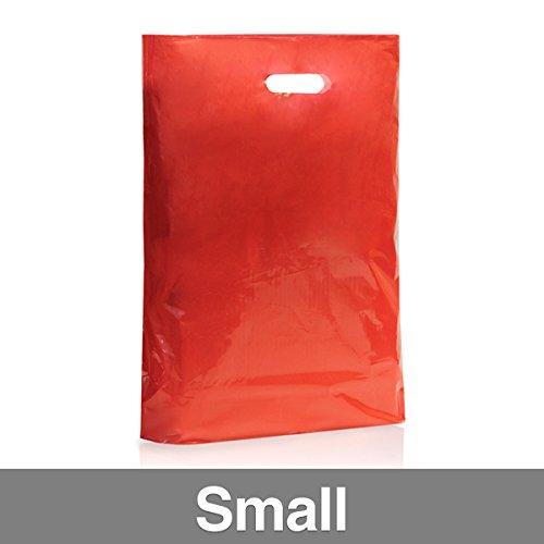 Confezione di 500colore rosso sacchetti di plastica con maniglia Small Red
