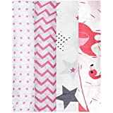 Mom's Home Organic Cotton Super Soft Baby Muslin Cloth Swaddle - 0-12 Months - Pack of 4 - Pink
