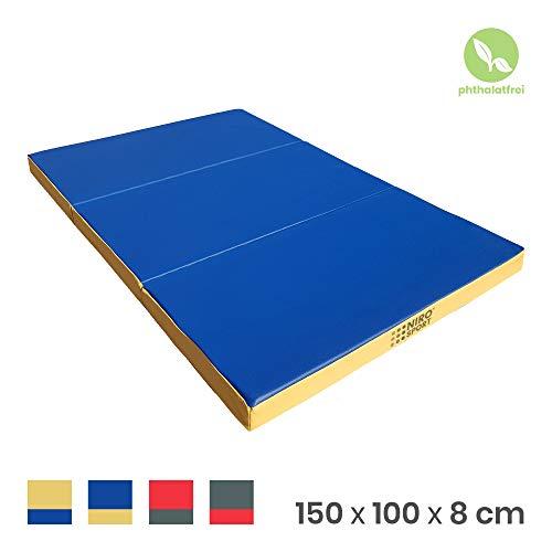 NiroSport Turnmatte 150 x 100 x 8 cm Gymnastikmatte Fitnessmatte Sportmatte Trainingsmatte Weichbodenmatte wasserdicht klappbar (Blau/Gelb)