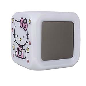 LED Kids alarm clock Hello Kitty K1 - 7 colors, 7 songs - 80 x 80 x 80 mm, the favorite alarm clock for children