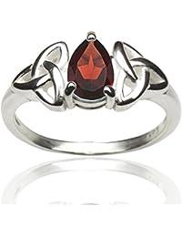 DTPsilver - Damen - Ring 925 Sterling Silber mit Granat Keltisch Trinity Design