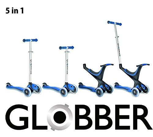 Preisvergleich Produktbild Globber Free Kids 5 in 1 Scooter Kickboard Laufrad mit Schiebestange + F26 Sticker (blau-schwarz)