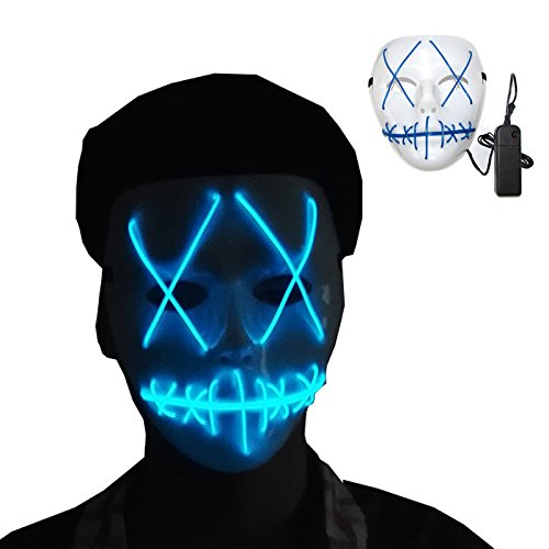 AimdonR Halloween Scary Light Maske, Cosplay LED-Maske, Draht leuchten Maske für Festival Parteien
