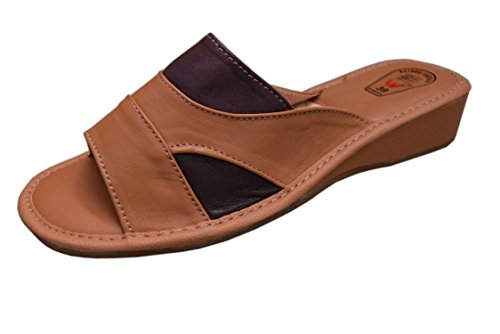 Natleat Slippers16 - Sandali ciabatta da ragazza' donna Brown 3