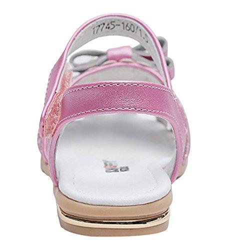 Y-BOA Bébé Fille Sandales Perle Pailleté Princesse Chaussure Été Nœud Papillon Souple Rose 26:Semelle 17cm Rose