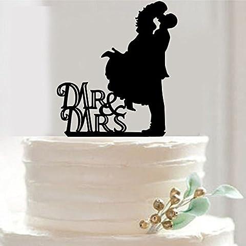 B&Y Mr. & Mrs. Kissing Couple Silhouette Acrylic Wedding Cake Topper