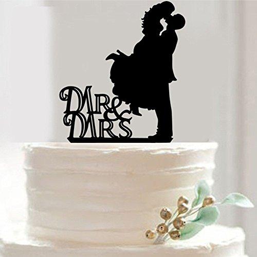 B & Y MR & MRS Kissing Couple Silhouette in acrilico, motivo torta nuziale