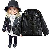 FeiliandaJJ Baby Kinder Mantel, Coat Jacken Herbst Winter Junge Mädchen Schwarz Pu Nähte Revers Lederjacke Strickjacke Kleidung Warm Outwear (100(2~3 Jahre), Schwarz)
