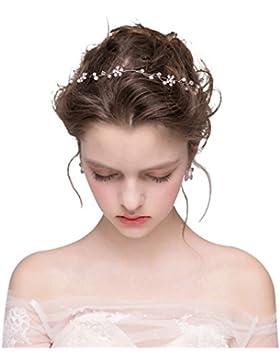 Dayiss Süß Braut Haarschmuck Blumen Diademe mit Kristall Perlen Hochzeit Vintage Silber und Gold