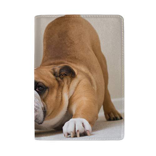Lustiger Hundespürhund, der das Yoga blockiert Druck-Pass-Halter-Abdeckungs-Fall-Reisegepäck-Pass-Geldbörsen-Kartenhalter TUT, der mit Leder für Mann-Frauen-Kind-Familie hergestellt Wird - Britische Vintage-print