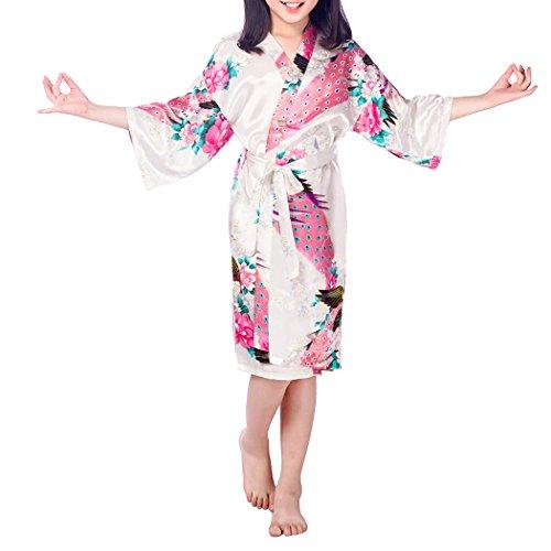 VENIMASEE Kindermädchen Pfauen Seidig Satin Kimono Robe Morgenmantel -