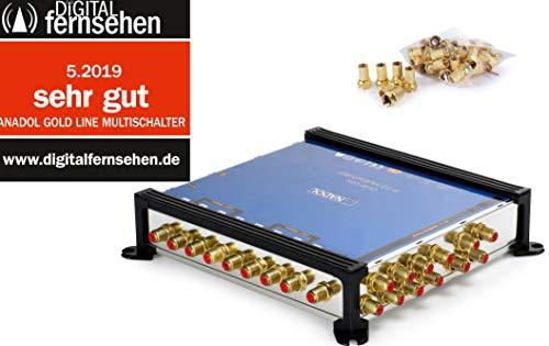 Anadol Gold Line 9/12 digitaler Multischalter [ Test SEHR GUT ] Multiswitch für 2 Satelliten und 12 Ausgänge/Receiver - mit externem Netzteil - 21 vergoldete F-Stecker gratis
