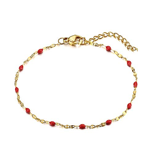 BOBIJOO Jewelry - Armband Minimalistische, Dünne Kette Frau Stahl Vergoldet wahlweise Kreuz-Klee-Herz-Schlüssel-Boden Feder Schmetterling - (Farbe) Rot -