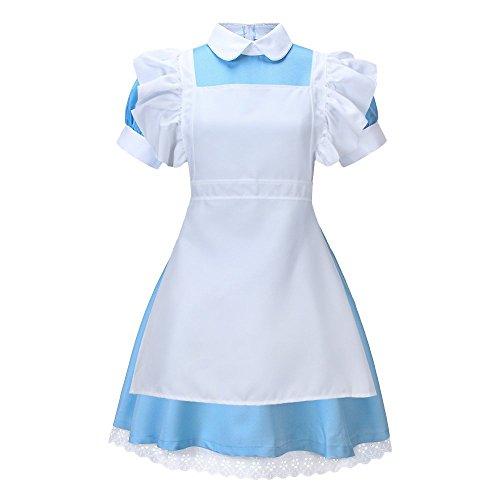 Wulide Damen Kostüm Dienstmädchen Alicekostüm (Kleid + Schürze + Haarreif) für Halloween Karneval Fasching, Blau, Gr.XL (Blaue Halloween-kostüme)