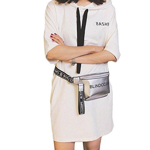Leegoal Freestyle Street Cool Schulter Messenger Tasche, Hip-Hop Persönlichkeit Fashion Mini Phone Bag für Frauen Damen, Silber (Messenger Freestyle)