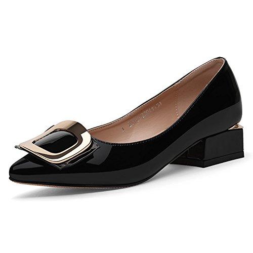 QIDI-sandalen QIDI Freizeitschuhe Gummi Reine Farbe Spitze Low-Heels Modisch Lederschuhe (Farbe : Schwarz, Größe : EU37/UK4.5-5)