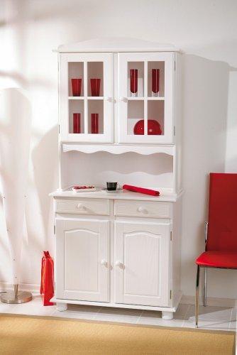 Links 20900805 Anrichte Vitrine Buffetschrank Kommode Landhaus massiv weiß 4-türig Schubladen