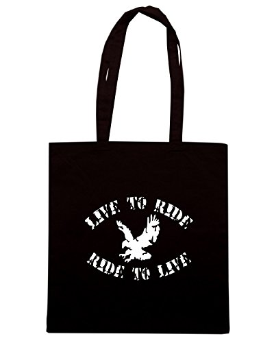 T-Shirtshock - Borsa Shopping OLDENG00571 live to ride ride to live Nero
