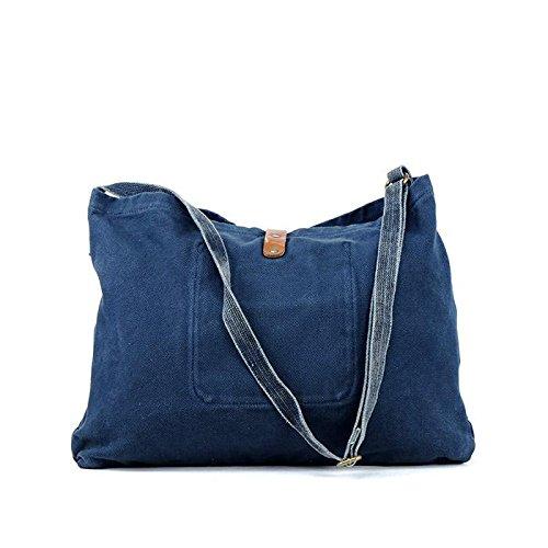 &ZHOU femminile borsa di tela grande capacità tracolla zaino del messaggero di svago di 43 * 41 * 6 , blue Blue