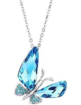 ❤Valentinstagsgeschenke❤ Swarovski Elements Halsketten Schmetterling Blau Kristall Neoglory Jewellery